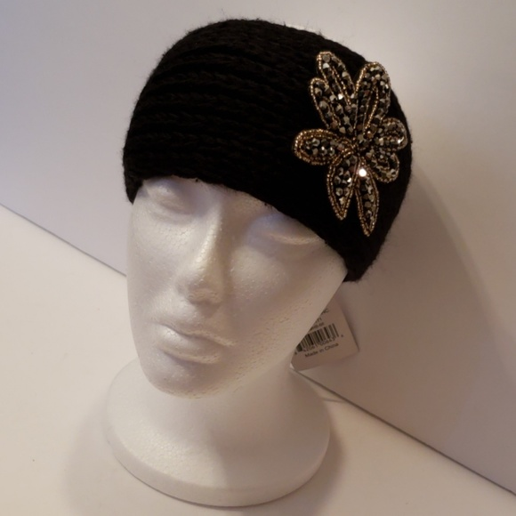 Accessories - Knitted Sweater Bling Headband- Black